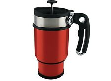 Planetary Design Coffee Travel Mug Double Shot French Press Stainless Steel Red