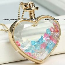 Gold Heart Blue Pink Clear Stars Crystal Necklace Gift for Her Girlfriend BFF 3T