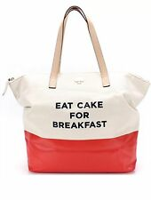 KATE SPADE Authentic Orange Canvas Eat Cake For Breakfast Large Tote Bag