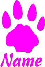 Autoaufkleber- Hundepfote mit Name   14cm x 10cm div. Farben zur Wahl Art 665