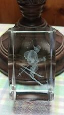 Ski Skiing 3-D Laser Etched Crystal Paperweight A122