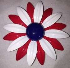 Vintage Enamel Red White and Blue Daisy Flower Brooch Pin 3 inch