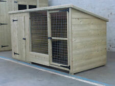 TANALISED WOODEN DOG KENNEL AND RUN / CATTERY  8 X 4 x 4 HIGH