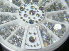 700 Pcs 5 Sizes Nail Art Tips Crystal Glitter Rhinestone Decoration+Wheel #56WA
