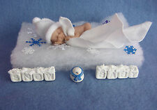 "3"" IN MINIATURE POLYMER CLAY  OOAK I SNOW BABY  DOLL  WITH EXTRAS"