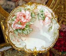 VIENNA AUSTRIA HAND PAINTED ROSES PORCELAIN CHARGER Artist SIGNED RAISED MOLD