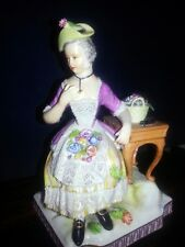 Antique 19th Royal Vienna Dresden Lace Smell Senses Lady Perfume Bottle Figure