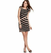 NWT Petite Ann Taylor Loft Diagonal Stripe Ponte Dress, 2P