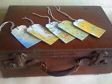 Map gift tags in style of vintage luggage lable handmade with jute ties set of 5