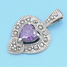 Heart with Marcasite Pendant Sterling Silver Vintage Style Jewelry Amethyst CZ