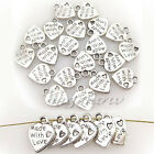 60Pcs Tibet Silver Made With Love Charm Heart Beads Pendants Jewelry Finding DIY