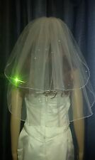 "Ivory shoulder length bridal wedding veil with Swarovski crystals 20""/25 2 tiers"