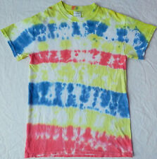Homemade Striped Tie Dye Short Sleeve T-Shirt - Mens Small Tee Multi-Color