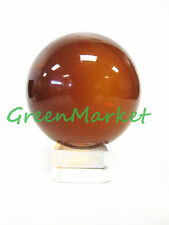 1 pc 100mm Asian Feng Shui Amber Color Glass Crystal Ball with Clear Glass Stand