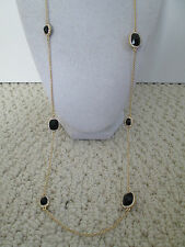 NWT Auth Kate Spade Park & Lex Black Stone Scatter Charm Long Necklace $128