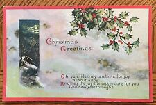 """Antique 1914 Christmas Post Card - """"CHRISTMAS GREETINGS"""" Made In U.S.A."""