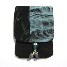 """Midnight Waves"" Woman's Amulet Purse Charm Bag Pouch Vintage Japanese Fabric"