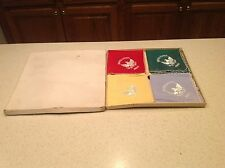 Boxed Set of Antique US Army Silk Handkerchiefs Embroidered Scalloped Edges
