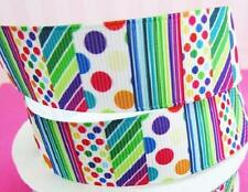 "10 yard Mix Color Polka Dot & Stripe Grosgrain 7/8"" Ribbon/Craft/Bow/Party RY-47"