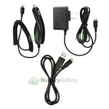 Micro Travel Home Wall AC+Battery Car Charger+USB Data Sync Cable for Cell Phone