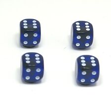 Set of  Four Blue Translucent Dice Dust Caps X4 - 80's Retro Valve Caps BMX VW
