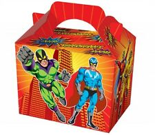 20 Superhero Food Boxes ~ Picnic Carry Meal Box ~ Kids Birthday Party Bag Plate