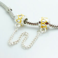1PCS Silver Stopper Locks Beads Clip Safety Chain To Fit Charm Bracelet SH146