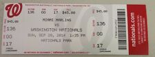 2014 WASHINGTON NATIONALS/ MARLINS TICKET STUB 9/28 JORDAN ZIMMERMANN NO HITTER