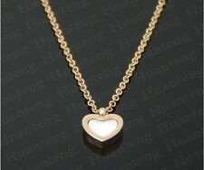 """8mm New Gold Plated Titanium Love Seeshell Heart Pendant Necklace Chain 16""""-18"""""""