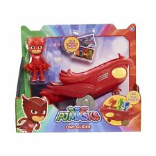 "PJ MASKS : 3"" OWLETTE + MOBILE RED OWL GLIDER VEHICLE  -  new in box"