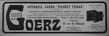 PUBLICITÉ 1909 APPAREIL GERZ POCKET TENAX POUR CLICHÉS 4.1/2 x 6 - ADVERTISING