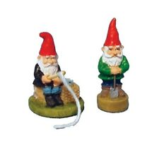 Pair of Active Gnomes, Dolls House Miniatures. Garden Ornaments