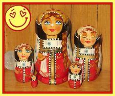 Russische handbemalte Verschachtelung Puppe kleine rote SCHWARZ schön MATRYOSHKA
