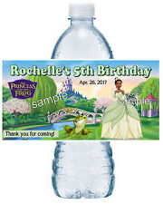 20 PRINCESS TIANA BIRTHDAY PARTY FAVORS ~ WATER BOTTLE LABELS ~ WATERPROOF INK