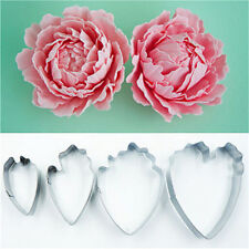 4PCS Floral Petal Mould Cutter Fondant Cake Decoration Gum paste Peony Mold Tool
