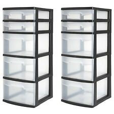 5 Drawer Tower Plastic Organizer Home Cabinet Office Storage Black 2 PC