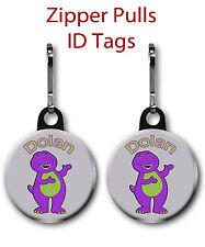 Personalized Purple Dinosaur  2-Pack 1 inch Zipper Pull You Provide the Name