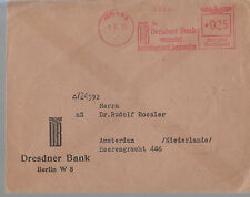 1939 Germany Dresdner Bank Metered Cover to Netherlands