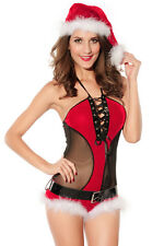 Sexy Women's Christmas Halter Neck Teddy Lingerie Dress Up Costume & Belt