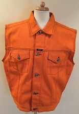 Rare Vintage KARL KANI Orange Denim Jean Button Up Sleeveless Jacket XL Hip Hop