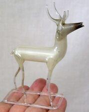 Vintage Blown Glass Deer Figure on Rectangular Base