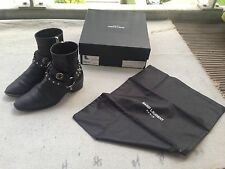 SAINT LAURENT PARIS Nero Pelle Stivali SZ 37 UK 4 Hedi Slimane tacco Wyatt Stud