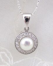 925 Sterling Silver Freshwater Pearl Cubic Zirconia Pendant Necklace Jewelry NEW