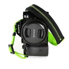 Padded Neck Shoulder Strap with Green Grosgrain Ties Fujifilm Sony Nikon Canon..