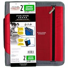 Five Star Zipper Binder- 2 Inch-3 Round Ring Binder, 530 Sheet Capacity (Red)
