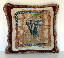 elephant decorative throw pillow wildlife african animal rust beige for sofa or