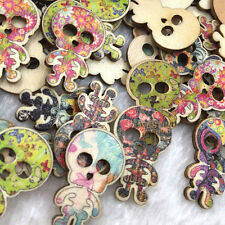 50 pc Mix Skull Head Pattern Wood Sewing Buttons Scrapbooking WB374