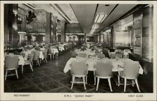 RMS Steamship Queen Mary Interior Real Photo Postcard RESTAURANT