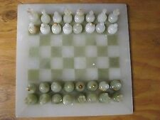 "CHESS SET #12 HAND CARVED PAKISTAN ONYX 2 1/2"" PIECES 11"" ONYX BOARD"