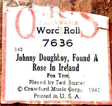 """QRS Word Roll """"JOHNNY DOUGHBOY, FOUND A ROSE IN IRELAND"""" 7636 Player Piano Roll"""